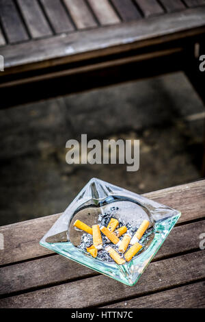 CIGARETTE STUBS LYING in a countryside LOCATION spain - Stock Photo