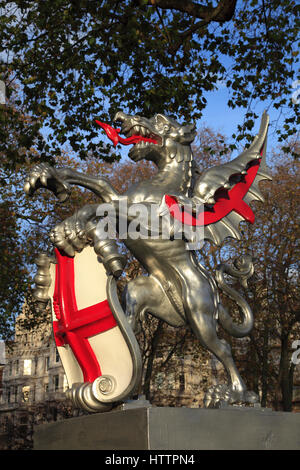City of London griffin boundary sculpture, with Shield of St George, London City, England, United Kingdom - Stock Photo