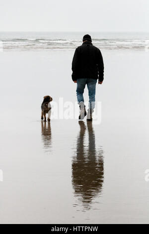 Man and his old Border Terrier dog walking along the beach in North Wales - Stock Photo