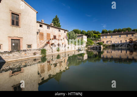 The town of Bagno Vignoni in Orcia Valley, Siena district, Tuscany, Italy - Stock Photo