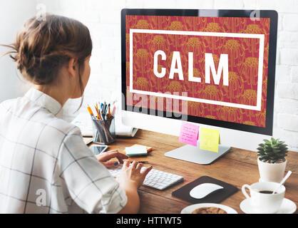Keep Calm Mindfulness Peaceful Serene Relaxation - Stock Photo