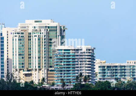 High rise buildings seen from the port at San Juan in Puerto Rico - Stock Photo