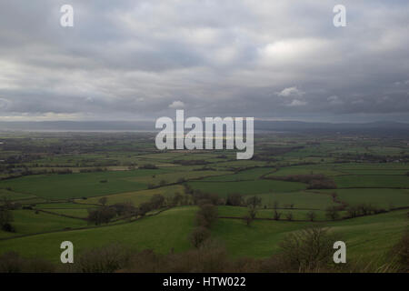 View from Frocester Hill, near Dursley towards the River Severn in England, United Kingdom. From this vantage point - Stock Photo