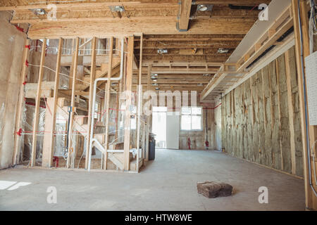 Interior of new building under construction showing ...