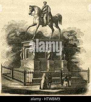 Antique 1854 engraving, 'Monument to William III, King of Prussia, Erected at Konigsberg in 1851.' SOURCE: ORIGINAL - Stock Photo