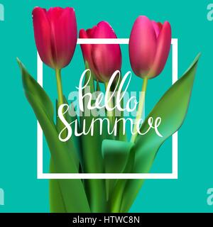 Hello Summer Natural Background Vector Illustration - Stock Photo