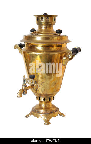 Kitchen utensils - Retro Russian Samovar on a white background. It is isolated, the worker of paths is present. - Stock Photo