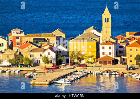 Vinjerac village in Velebit channel view, colorful architecture of Croatia - Stock Photo