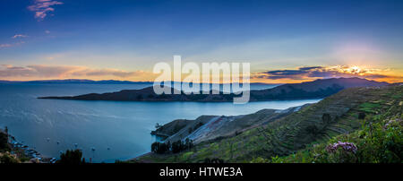 Sunset over Titicaca Lake, Isla del Sol - Bolivia - Stock Photo