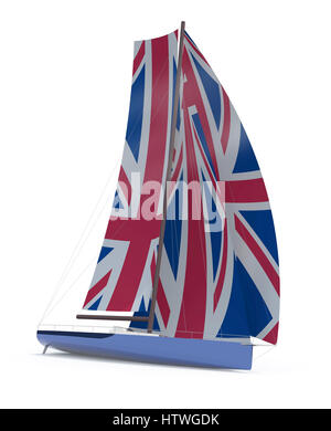 sailboat with sail colored as UK flag, 3d illustration - Stock Photo