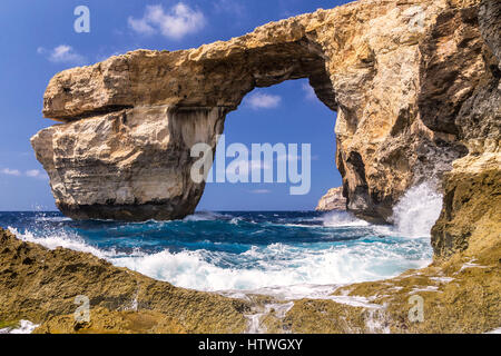 Reminder of Azure Window - beautiful rock formation on Gozo, Malta, collapsed on march 2017 and lost forever in - Stock Photo