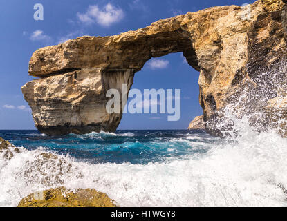 Azure Window - awesome Gozo, Malta  rocky formation, collapsed due erosion in march 2017. Rocky formation lost forever. - Stock Photo