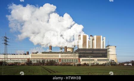 Weisweiler RWE brown coal power plant / Kraftwerk Weisweiler at Eschweiler, North Rhine-Westphalia / Nordrhein-Westfalen, - Stock Photo