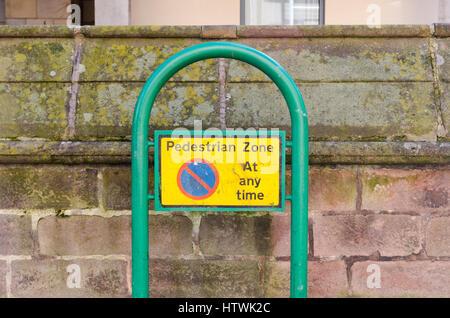 No parking sign in pedestrian zone in Derby - Stock Photo