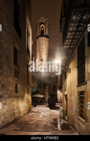 Tower of the Royal Chapel of St. Agatha at night in Gothic Quarter (Barri Gotic), city of Barcelona in Catalonia, - Stock Photo