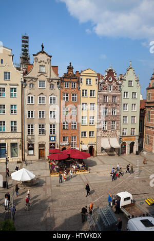 Poland, city of Gdansk, historic houses with gables at Long Market (Dlugi Targ) main pedestrian street in the Old - Stock Photo