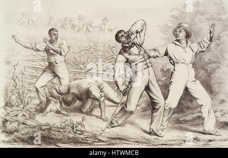 AMERICAN FUGITIVE SLAVE ACT 1850 engraving by German /American  artist Theodor Kaufman - Stock Photo