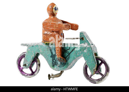 motorbike, pre-war made in the famous village of Seiffen (Ore Mountains/ Germany) - Stock Photo