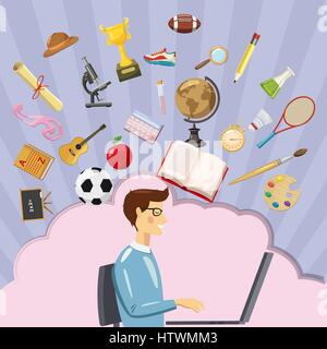 Education concept student, cartoon style - Stock Photo