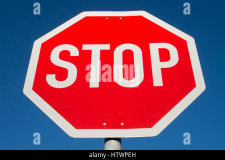 German road sign: stop and give way - Stock Photo