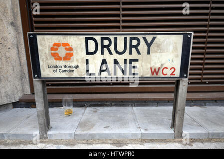 Drury Lane is a street on the eastern boundary of the Covent Garden area of London, running between Aldwych and - Stock Photo