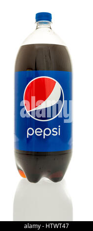 Winneconne, WI - 12 January 2017:  Bottle of two liter of Pepsi on an isolated background. - Stock Photo