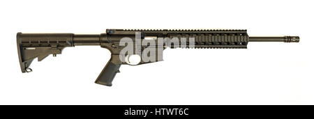 Winneconne, WI - 4 March 2017:  A Smith & Wesson 15-22 AR-15 in 22 caliber on an isolated background. - Stock Photo