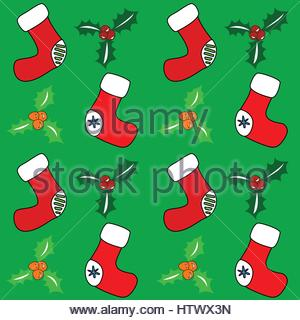 Seamless holiday retro background. Santa stockings and holly. Vector eps. - Stock Photo
