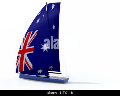 sailboat with sail colored as australian flag, 3d illustration - Stock Photo