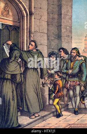 Martin Luther nailing his 95 theses on the door of the castle church of Wittenberg - Stock Photo