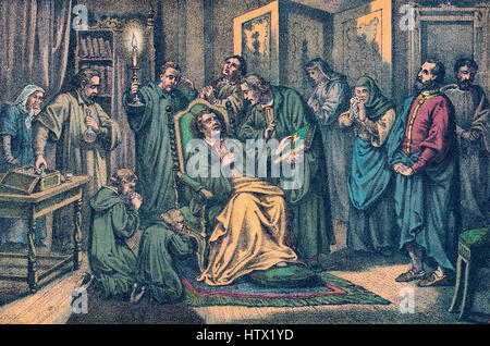 The death of Martin Luther, 1546, Eisleben, Germany - Stock Photo