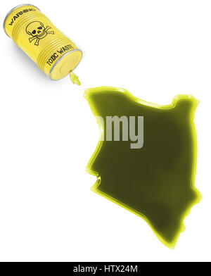 Glossy spill of a toxic substance in the shape of Kenya (series) - Stock Photo