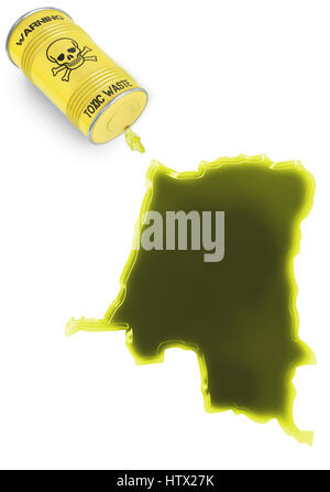 Glossy spill of a toxic substance in the shape of Zaire (series) - Stock Photo