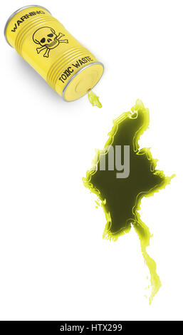 Glossy spill of a toxic substance in the shape of Burma (series) - Stock Photo