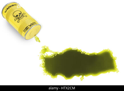 Glossy spill of a toxic substance in the shape of Turkey (series) - Stock Photo