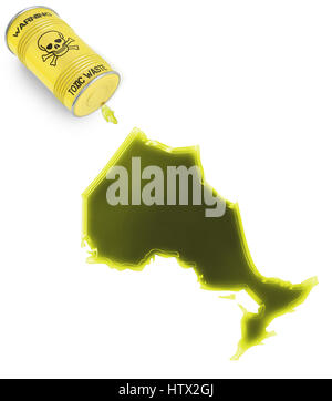 Glossy spill of a toxic substance in the shape of Ontario (series) - Stock Photo
