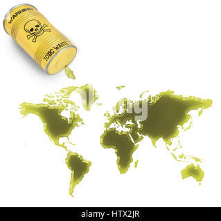 Glossy spill of a toxic substance in the shape of World (series) - Stock Photo
