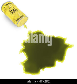 Glossy spill of a toxic substance in the shape of Andorra (series) - Stock Photo