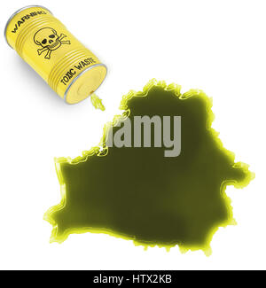 Glossy spill of a toxic substance in the shape of Belarus (series) - Stock Photo