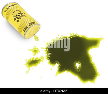 Glossy spill of a toxic substance in the shape of Estonia (series) - Stock Photo