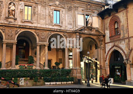 MILAN, ITALY - NOVEMBER 12, 2013: Antique Piazza dei Mercanti in Milano, Italy in november 12, 2013. - Stock Photo