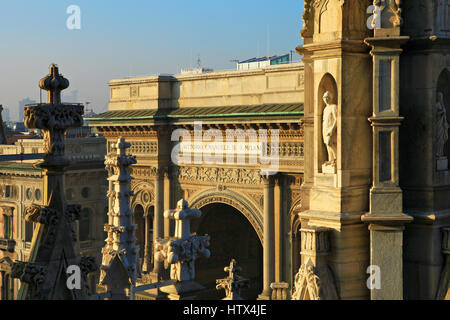 Galleria Vittorio Emanuele II in Milan View from Milan Duomo roof - Stock Photo