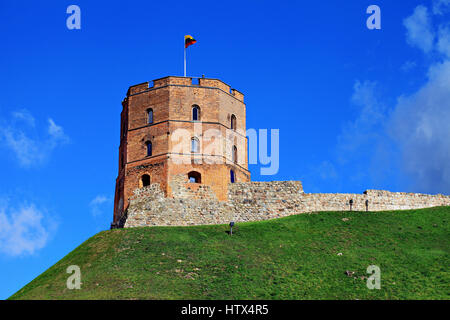 Historic Gediminas tower in Vilnius old town. Lithuania. - Stock Photo