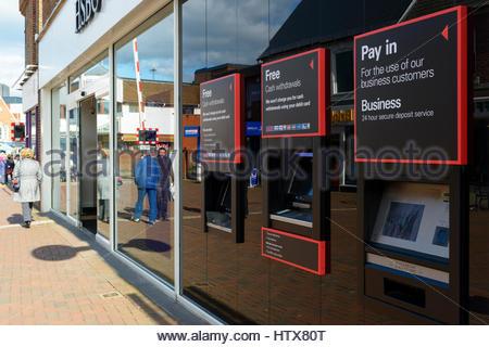 HSBC bank ATMs, Poole, Dorset, England, UK - Stock Photo