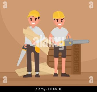 Two happy carpenters stand with tools. Vector foreman, joiner, woodworker in flat style - Stock Photo