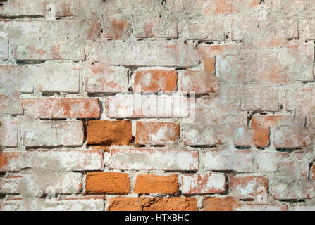 Background, wall of old house with cracked plaster - Stock Photo