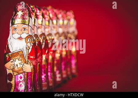 Close up of Sinterklaas. Saint  Nicholas chocolate figures of  Dutch character of Santa Claus.with copy-space. - Stock Photo