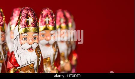 Close-up of Sinterklaas. Saint  Nicholas chocolate figurine of  Dutch character of Santa Claus. With copy space. - Stock Photo