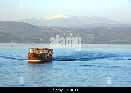 Tour boat on the sea of Galilee, Israel - Stock Photo