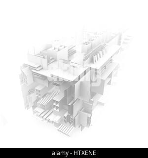 Light abstract modern architecture background. 3d rendering. 3d illustration - Stock Photo